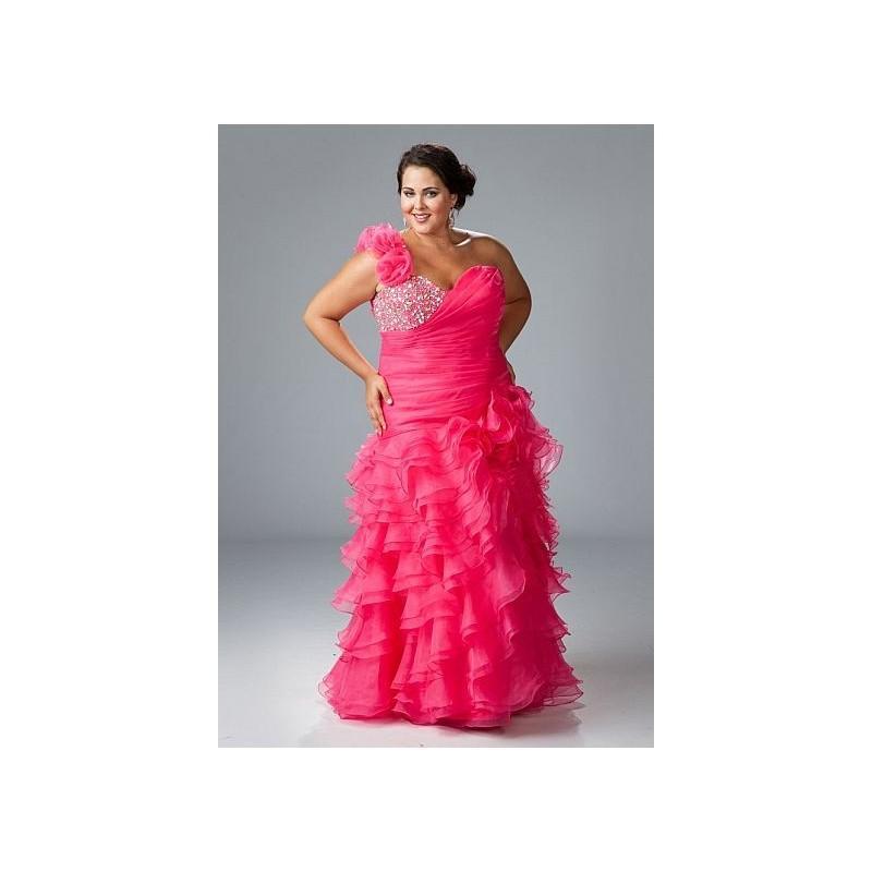 Sydneys Closet Plus Size Ruffle One Shoulder Prom Dress SC3032 ...