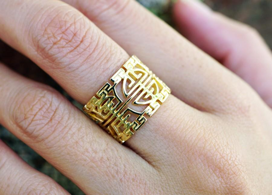 Mariage - 14k Solid Gold Longevity Ring, Long Life Ring, Traditional Birthday Ring, Custom Jewelry