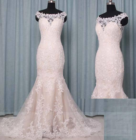 Mariage - Lace Wedding Dress Mermaid Illusion Neckline,Champagne Wedding Dress Boat Neck,Bridal Dressing Gown,Bridal Gown Sleeves,Custom Wedding Dress