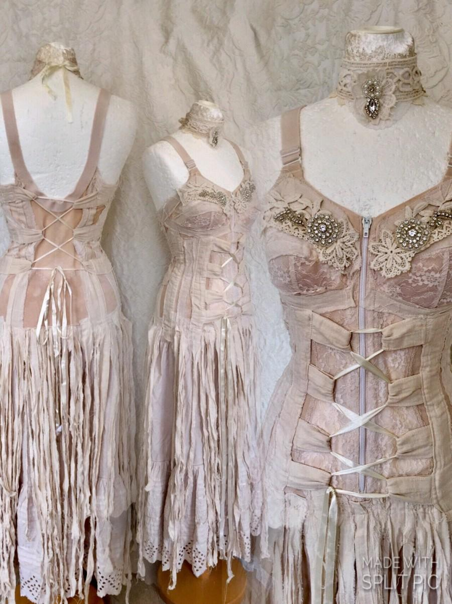Steampunk Wedding Dress, Boho Wedding Dress Tattered,pagan Wedding ...