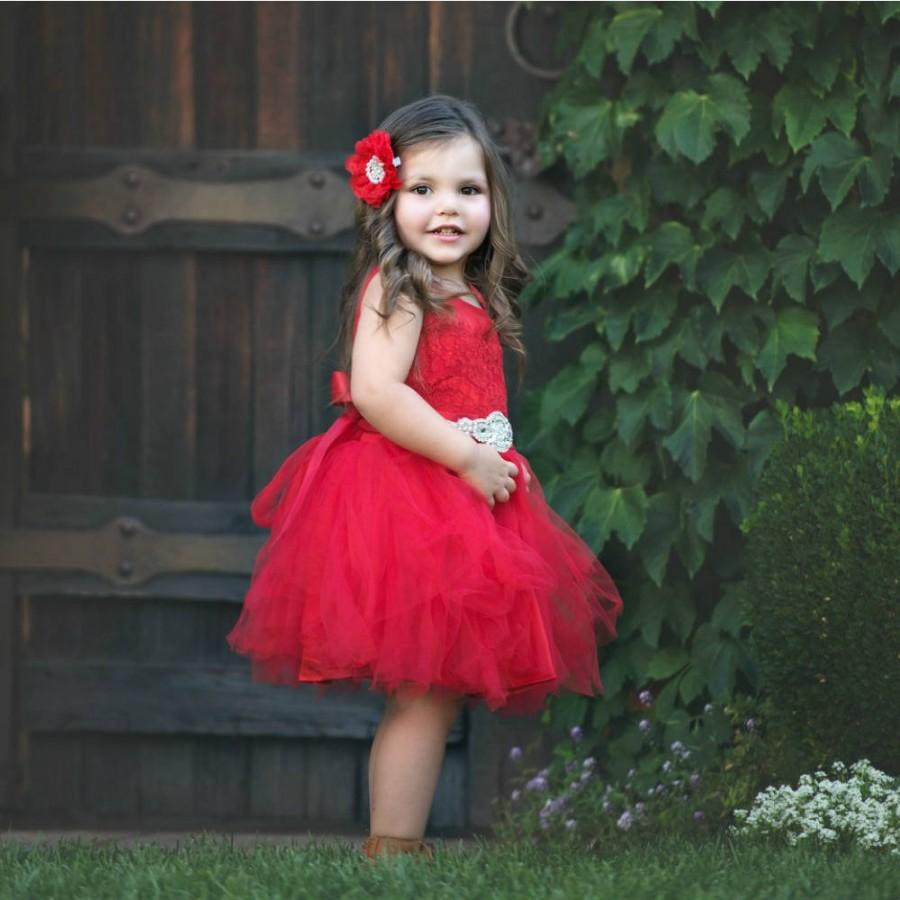 red flower girl dress flower girl dresses flower girl dress lace rustic flower girl dress red christmas dress baby dress tulle dress - Girls Red Christmas Dress