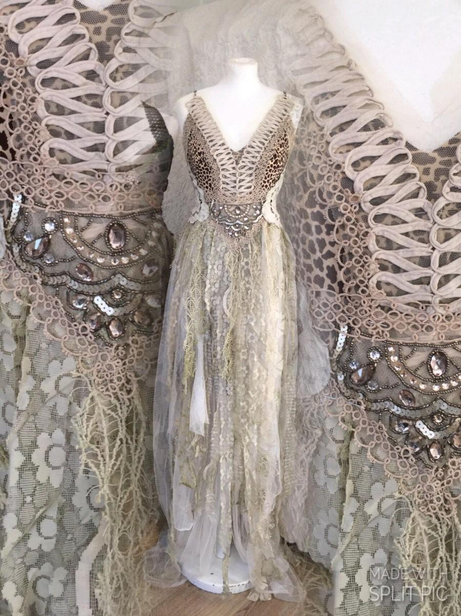 Mariage - Wedding dress leopard,bridal gown for mermaids, Empire cut wedding dress for fairy, mermaid wedding dress, rawrags,empire cut wedding dress