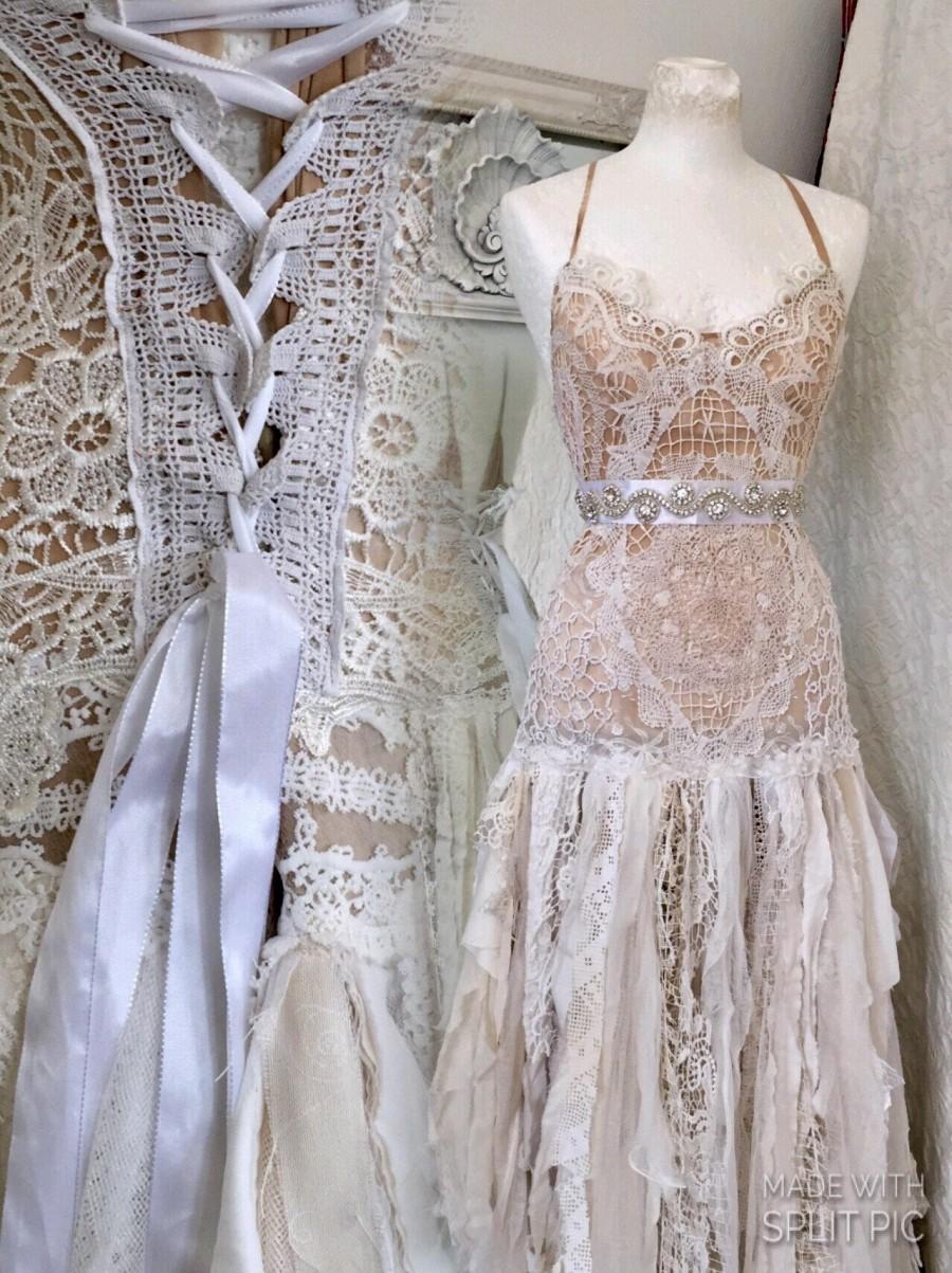 Boho Wedding Dress Tattered ,bridal Gown Tattered,pagan Wedding ...
