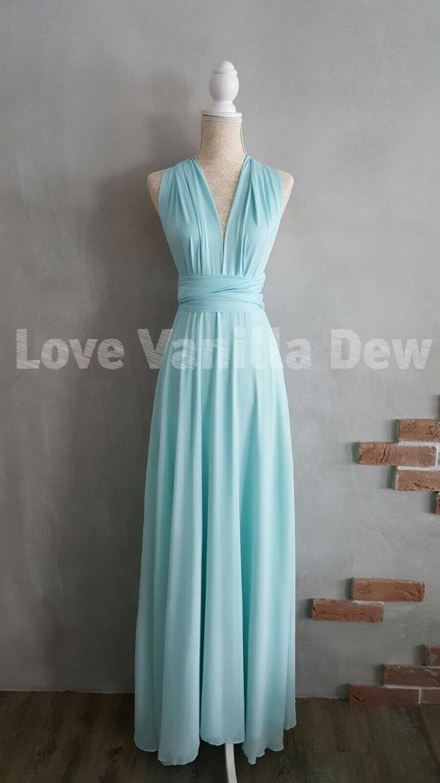 Bridesmaid Dress Infinity Dress Pastel Blue With Chiffon Overlay ...