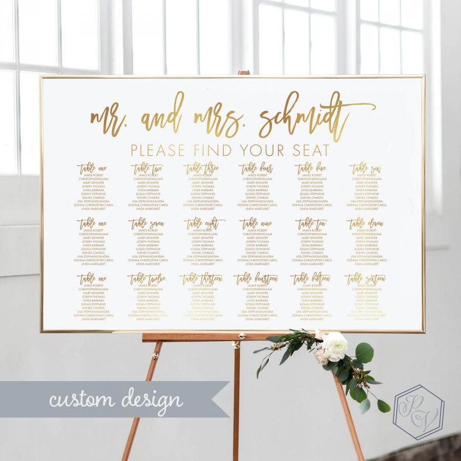 Свадьба - Gold Seating Chart Wedding Printable Wedding Seating Chart DIY Seating Chart Wedding Modern Wedding Seating Chart Table Seating Chart