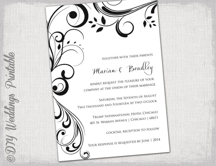 Lovely Wedding Invitation Templates Black And White  Within Invitation Word Template