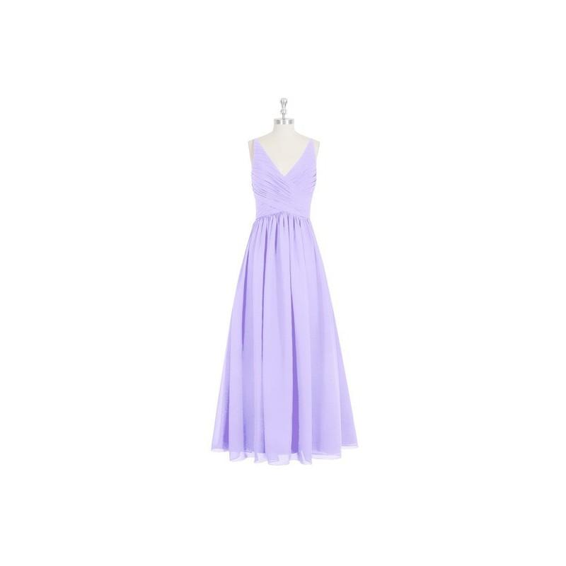 Wedding - Lilac Azazie Elaine - Floor Length Chiffon V Neck Back Zip Dress - Charming Bridesmaids Store