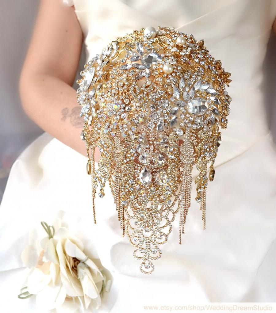 Rose Gold Brooch Bouquet Cascading Wedding Jewelry Bridal Dress Engagement Ring Crystal Rhinestone
