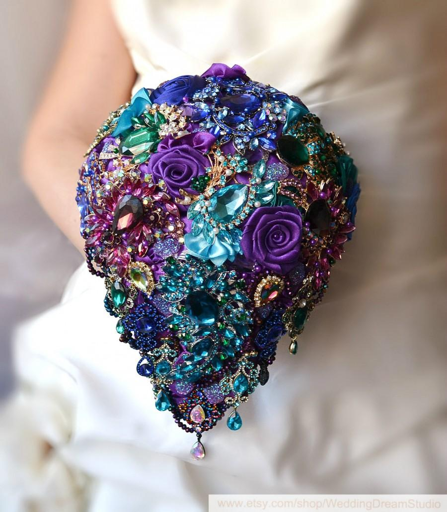 Mariage - Peacock Brooch Bouquet Wedding Dress Jewelry Bouquet Bridal Bouquet Crystal Bouquet Purple Blue Eggplant Gold Turquoise Plum Emerald Bouquet