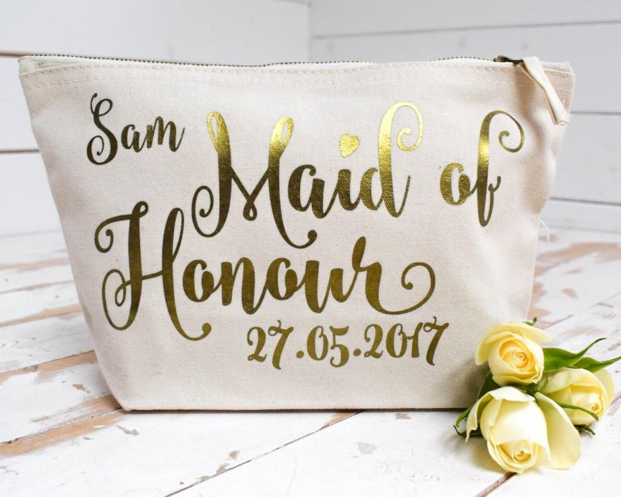 Mariage - Wedding Gift - Personalised Cosmetic Make Up Bag - Bridesmaid, Maid of Honour, Flower Girl Present - Unique Gift for Bridal Party Bags