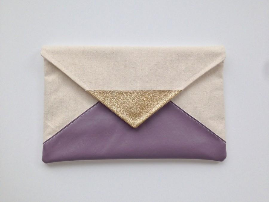 Mariage - Lilac Glitter Envelope Clutch, bridesmaid clutch, lavender bridesmaid gift, purple clutch, wedding gift set, gift for her