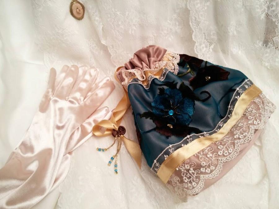 Mariage - Teal handmade Edwardian bag, Turquoise Regency drawstring bag, Wedding bag, Regency purse, beaded wedding purse, reticule