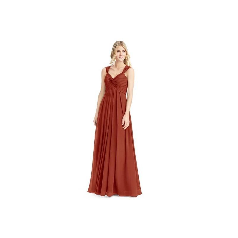 ee79ec9803c Rust Azazie Kaitlynn - Floor Length Chiffon V Neck Back Zip Dress -  Charming Bridesmaids Store