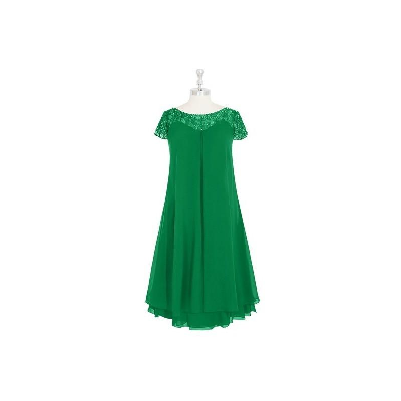 Wedding - Emerald Azazie Tess MBD - Knee Length Illusion Chiffon Illusion Dress - Charming Bridesmaids Store