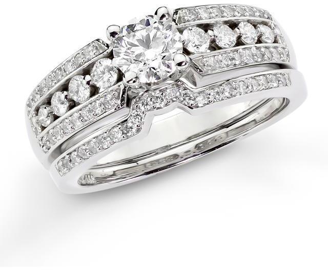 زفاف - Ice 1 CT TW Diamond 14K Polished White Gold Bridal Set