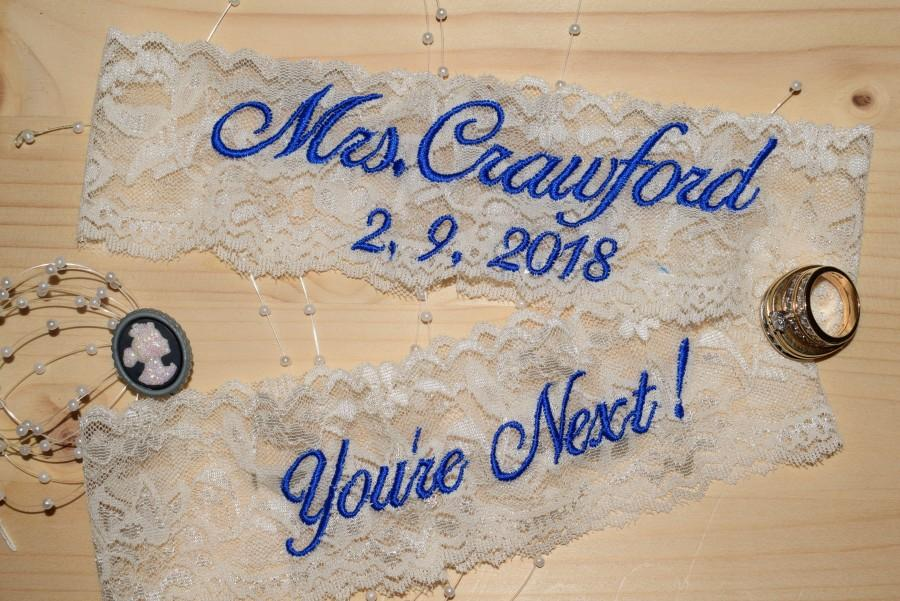 Свадьба - Personalized Wedding Day Garters, Bride's Garter, Toss Garter, Personalized Panties Purchase 1 or all 3