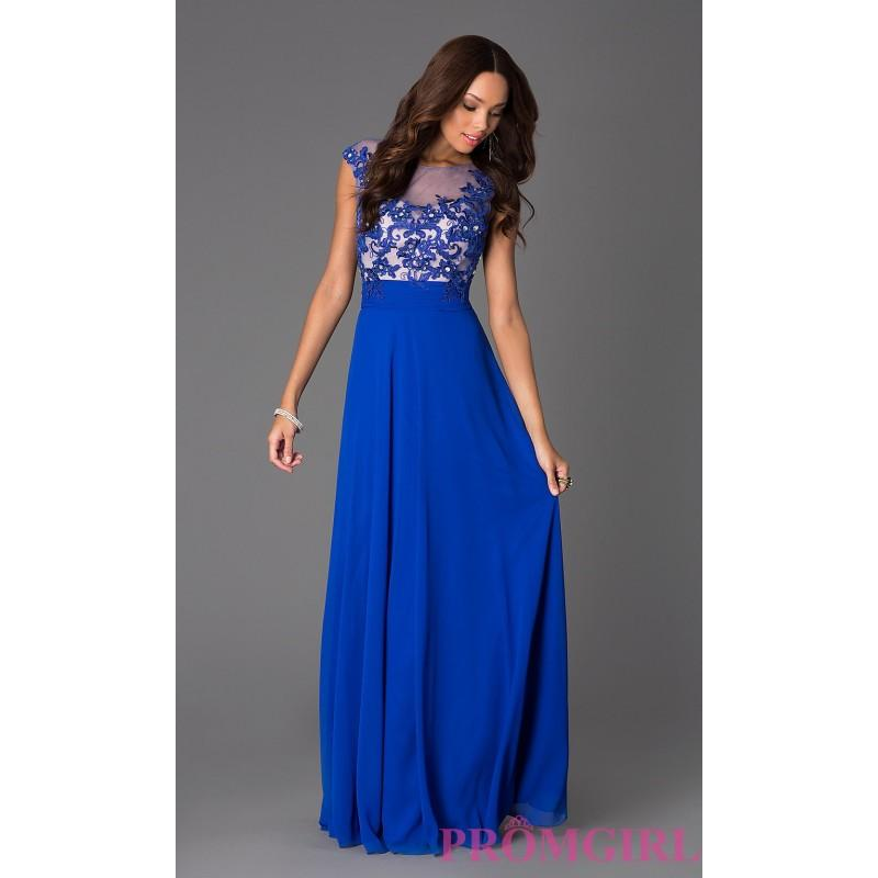 Mariage - Floor Length Cap Sleeve Dress with Illusion Lace - Brand Prom Dresses