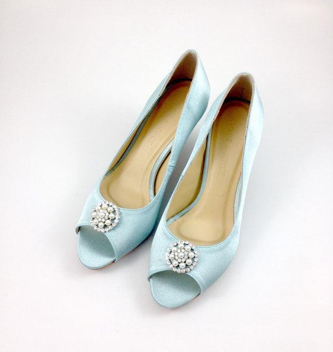Something Blue Wedding Shoes With Rhinestones, Light Blue Diamante ...