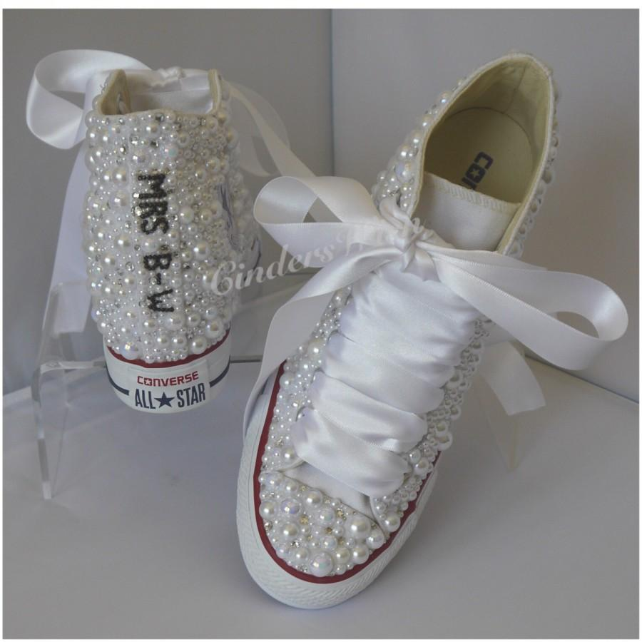 68c2d2bfbc3b Converse Wedge Luxury pearl sparklers   All over converse   Bridal converse    Wedding converse   pearl converse   bling converse