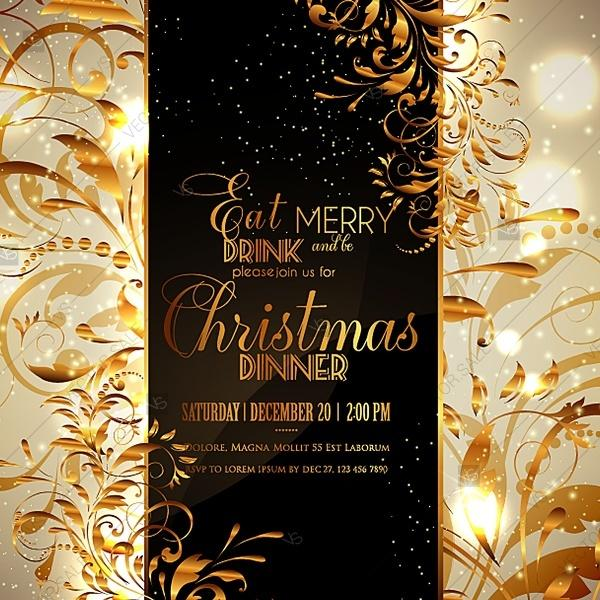 christmas party happy new year invitation with gold vinage branch