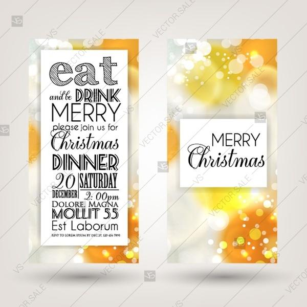 Merry Christmas Party Invitation Card Template Blurred Background