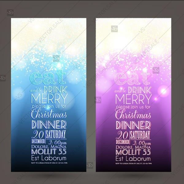 Merry Christmas Party Invitation Card Template Blurred