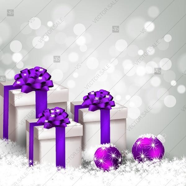 زفاف - Merry Christmas invitation gift box fir bow gold stars light garland balls