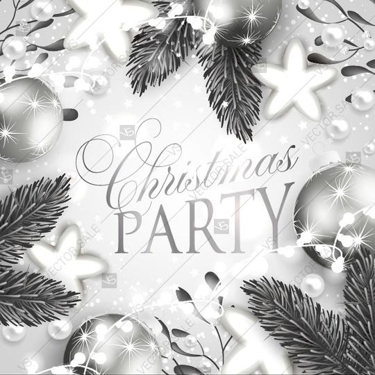 Свадьба - Christmas party invitation with fir branches and balls