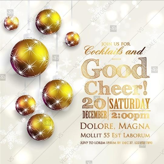 Wedding - Christmas party invitation with fir branches and balls