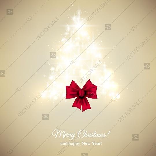 Wedding - Lights christmas tree Merry Christmas party invitation template greeting card