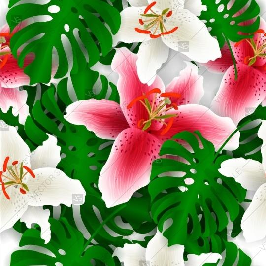 Tropical Flower Lily Palm Leaves Seamless Pattern 2806993