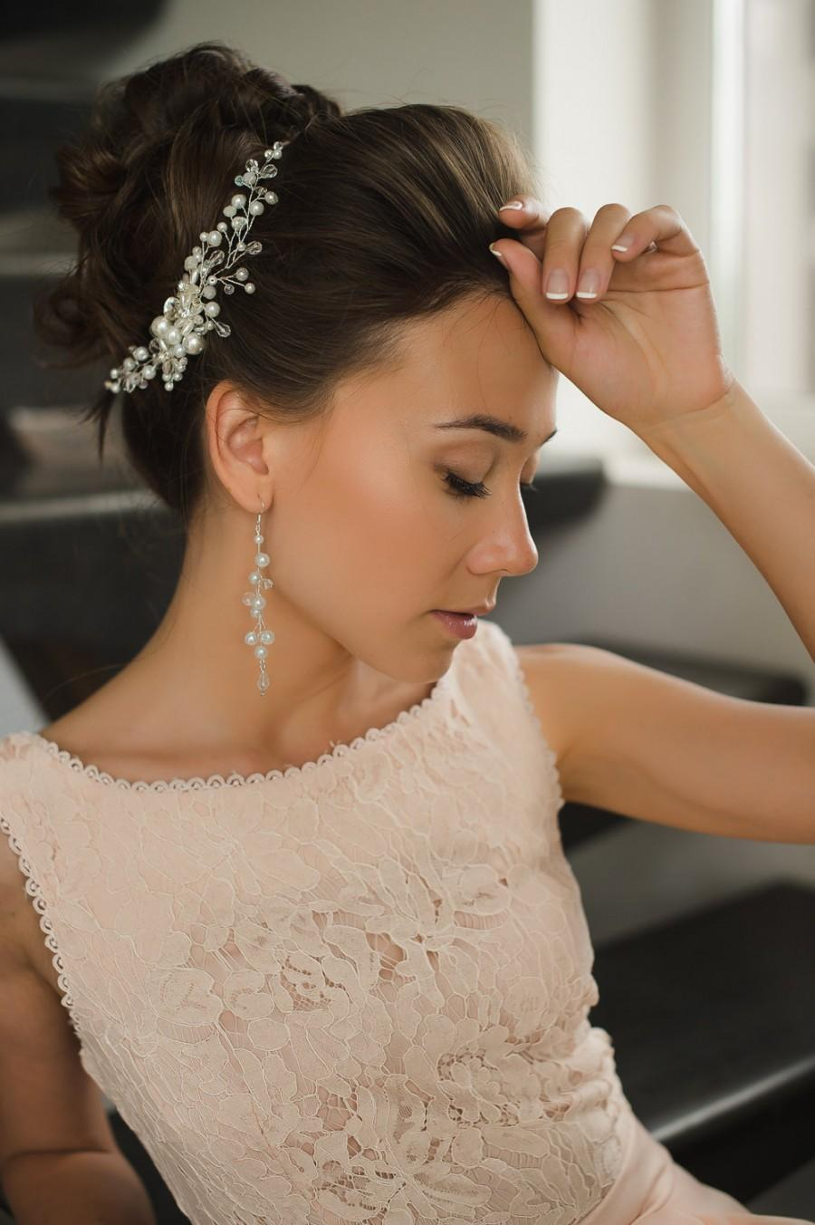 Mariage - Pearl Crystal Bridal Hair Comb Bohemian Wedding Accessories Romantic Beauty Pageant Princess Floral White Hair Clip Headpiece Hairpiece Comb