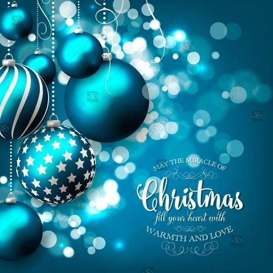 merry christmas and happy new year party invitation with christmas tree balls