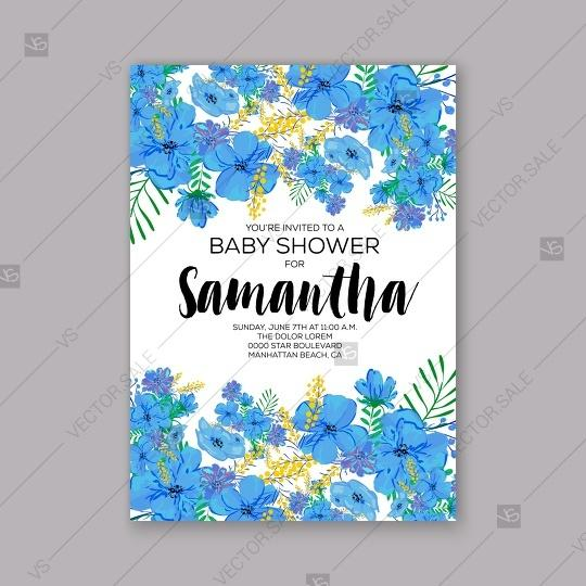Wedding - Baby shower invitation template with tropical flowers of hibiscus, palm leaves