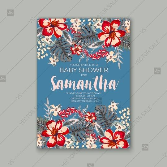 Baby Shower Invitation Template With Tropical Flowers Of Hibiscus