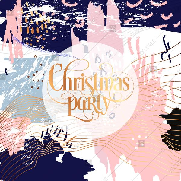 Wedding - Merry Christmas party invitation poster in memphis stile