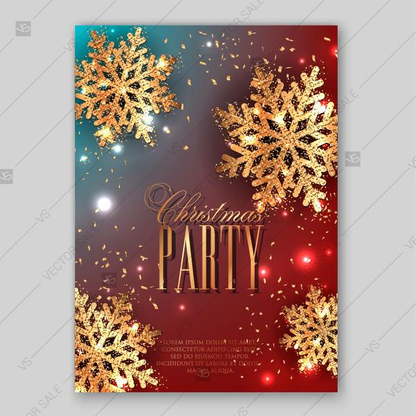 Wedding - Merry Christmas Party Invitation with gold snowflake and lights confetti