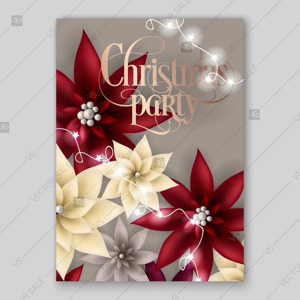 Hochzeit - Christmas party invitation with big paper vector origami flowers red poinsettia 3d