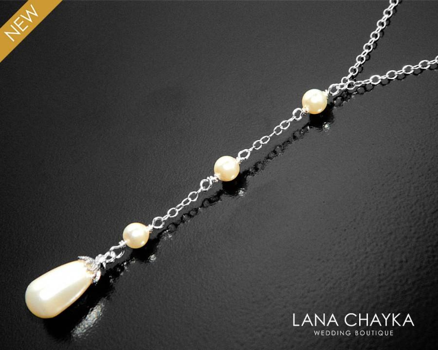 Wedding - Pearl Lariat Necklace, Y Bridal Pearl Necklace, Wedding Lariat Necklace, Swarovski Ivory Pearl Silver Necklace, Bridesmaid Pearl Necklace - $23.00 USD