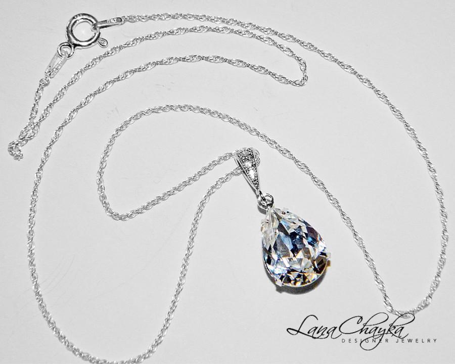 Свадьба - Wedding Crystal Necklace Teardrop Clear Rhinestone Necklace Wedding Jewelry Swarovski Crystal Sterling Silver Bridal Necklace Bridesmaids - $24.50 USD
