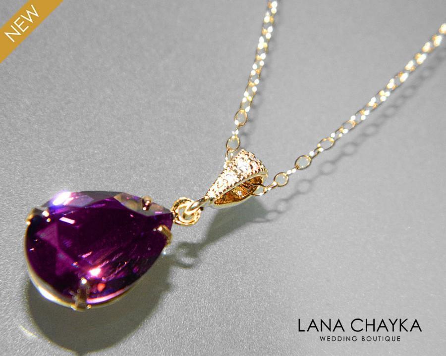 Mariage - Amethyst Crystal Necklace Swarovski Purple Rhinestone Amethyst Gold Wedding Necklace Purple Necklace Amethyst Teardrop Necklace - $25.90 USD