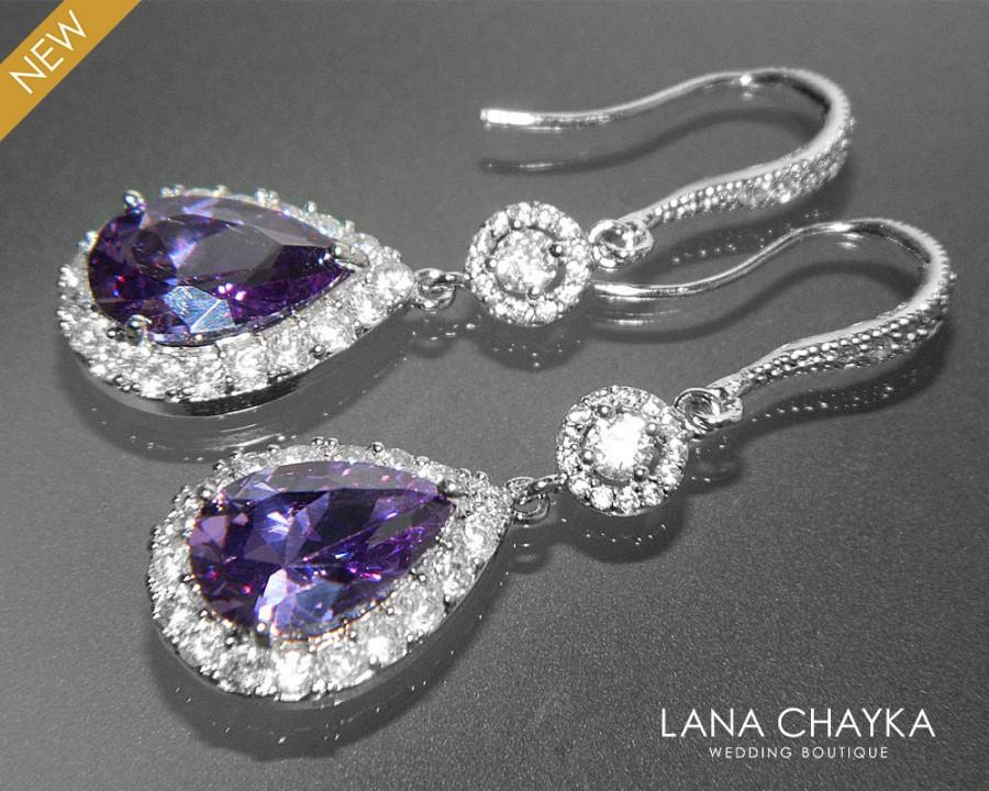 Hochzeit - Amethyst Crystal Earrings FREE US Shipping Purple Chandelier Earrings Amethyst CZ Teardrop Bridal Earrings Sparkly Halo Wedding Earrings - $37.90 USD