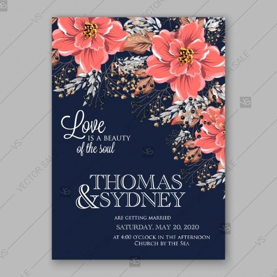 Свадьба - Wedding Invitation with bridal shower invitation bouquets of rose, peony, orchid, anemone, camellia