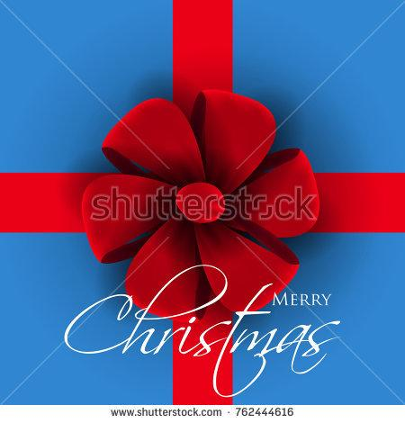 Wedding - Big red bow on blue background Merry Christmas card