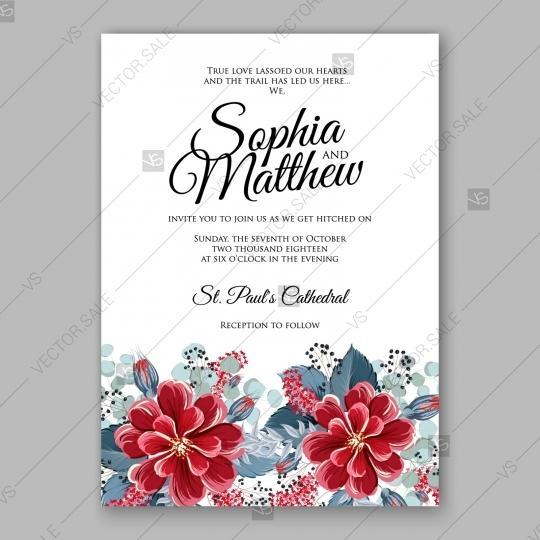 Wedding - Vinous red dahlia wedding invitation template mint greenery Burgundy