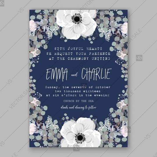 Anemone Wedding Invitation Card Vector Template 2807276