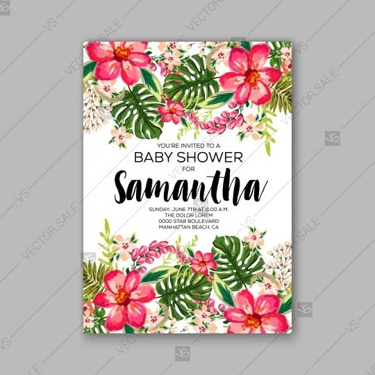 Hochzeit - Baby shower floral invitation with hibiscus flower and tropical leaves, watercolor flower wreath