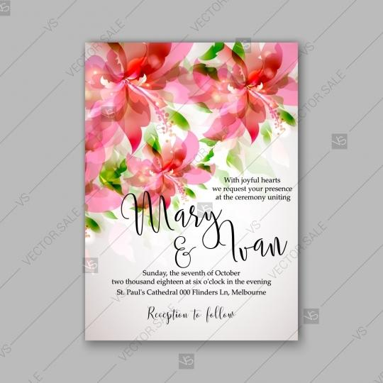 Romantic Pink Hibiscus Peony Bouquet Bride Wedding Invitation