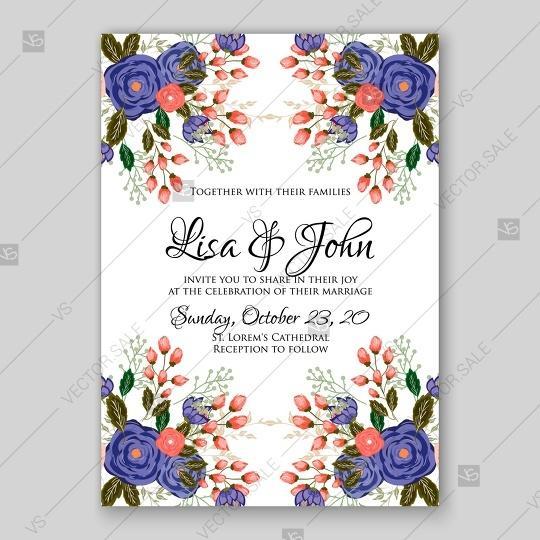Mariage - Blue, red rose ranunculus wedding invitation card template printable