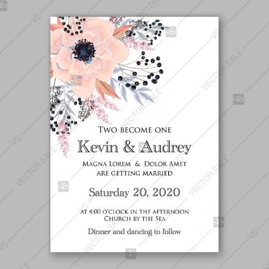 زفاف - Gentle anemone wedding invitation card printable template